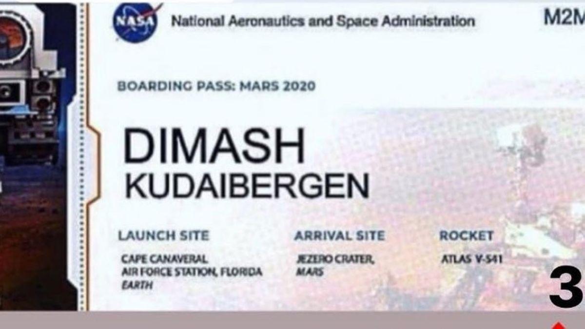 Димаш Құдайбергеннің есімі жазылған микрочип Марсқа жөнелтілді